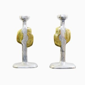 Spanish Cast Aluminium & Brass Candlesticks by David Marshall, 1970s, Set of 2