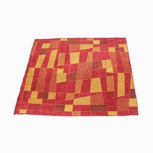Geometrischer Wollteppich in Rot & Gelb, 1950er