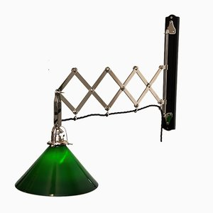 Adjustable Nickel-Plated Art Deco Wall Lamp with Opal Glass Green, 1920s