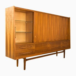 Highboard mit Nussholz Furnier, 1960er