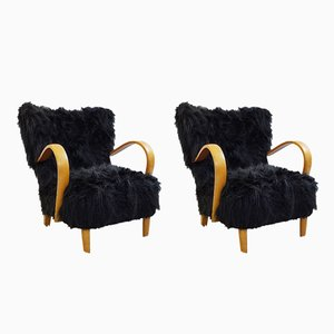 Black Faux Fur Armchairs, 1960s, Set of 2