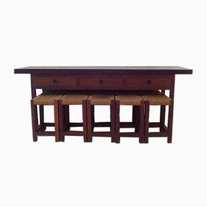 Tavolo pieghevolo o consolle e 10 sgabelli in legno IPE, anni '50