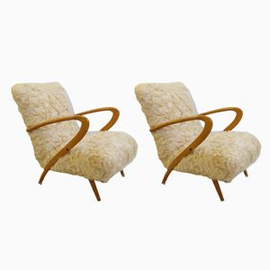 Vintage Faux Fur Armchairs by Guglielmo Ulrich, 1950s, Set of 2