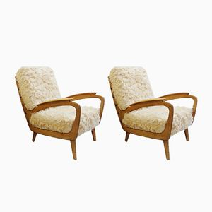 Mid-Century Faux Fur Armchairs, Set of 2