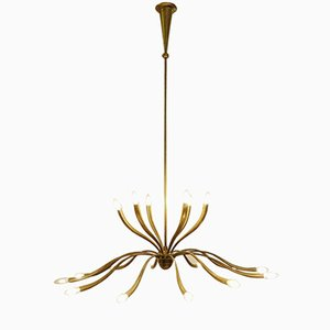 Large Italian Eighteen-Light Brass Chandelier by Guglielmo Ulrich, 1950s