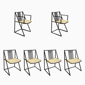 Mid-Century Stühle aus schwarzem Metall, 6er Set