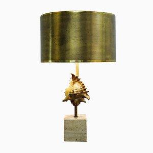 Lampe de Bureau Coquillage Vintage en Bronze Coulé