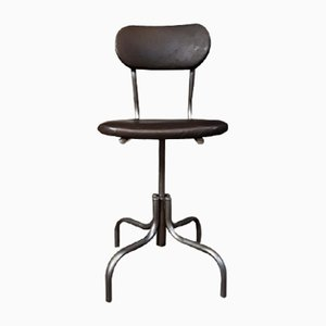 Mid-Century Leather & Steel Industrial Factory Swivel Chair from Shaw of London
