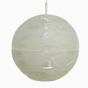 Vintage Hängeleuchte mit runder Kunststoff Kuppel