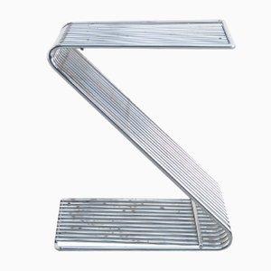 Taburete Z de metal cromado de François Arnal para Atelier A, años 70