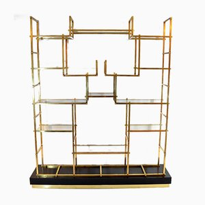 Large Brass Shelf by Romeo Rega, 1970s