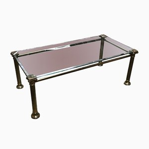 Glass & Brass Coffee Table, 1970s