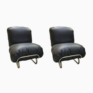 Black Leather Lounge Chairs, 1970s, Set of 2