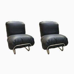 Schwarze Leder Sessel, 1970er, 2er Set