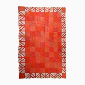 Kilim escandinavo vintage de tejido plano hecho a mano, años 50