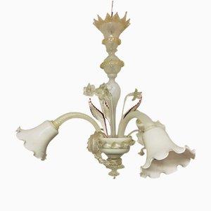 Italian White Murano Glass Pendant, 1950s