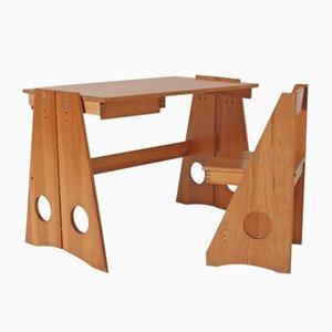 Juego de escritorio y silla de pino macizo de Gilbert Marklund para Furusnickarn AB, años 70