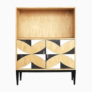 Vintage Swedish Book Case with Pattern, 1970s