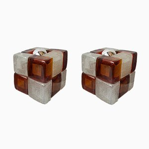 Italian Glass Cube Lamps from Poliarte. 1970s, Set of 2