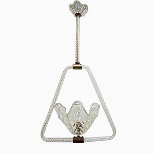 Lampada a sospensione in vetro di Murano di Barovier & Toso, anni '40