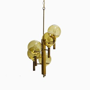Glass and Brass Chandelier by Svend Mejlstrøm, 1960s