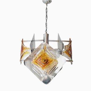 Lámpara de araña Era Espacial de acero y cristal de Murano, años 70