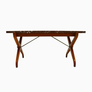 Mid-Century Marble & Mahogany Coffee Table by David Rosen for Nordiska Kompaniet