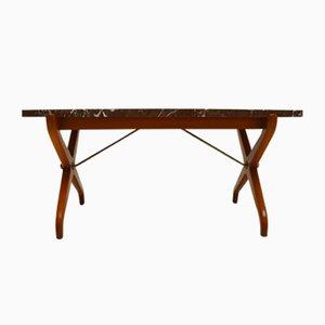 Tavolino da caffè Mid-Century in marmo e mogano di David Rosen per Nordiska Kompaniet