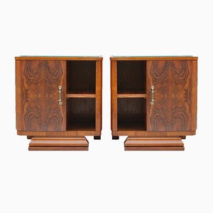 Art Deco Burl Walnut Veneer Night Tables, 1930s, Set of 2