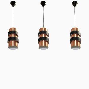 Lámparas colgantes danesas grandes de Jo Hammerborg para Fog & Mørup, años 70. Juego de 3
