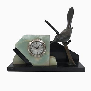 Reloj francés Art Déco con pájaro de bronce de TIT, años 30