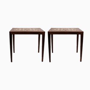 Tables d'Appoint avec Plateau en Carreaux par Severin Hansen pour Haslev Møbelsnedkeri, 1960s, Set de 2