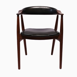 Danish Armchair in Teak and Black Leather, 1960s
