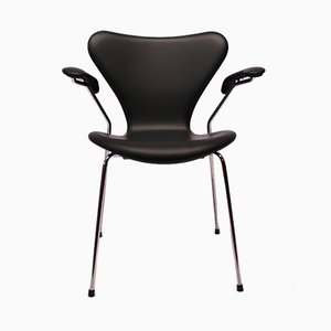 Black Leather Model 3207 Seven Chair by Arne Jacobsen for Fritz Hansen, 1980s