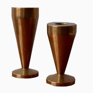 Dänische Vintage Messing Kerzenständer, 2er Set