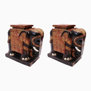Elephants Peints en Bois, Chine,1880s, Set de 2