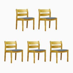 Dänische Vintage Esszimmerstühle mit Eschenholz Furnier von Kurt Østervig für FDB, 5er Set