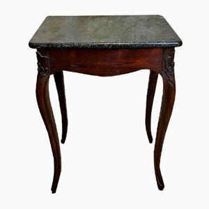 Table d'Appoint Antique en Noyer & Marbre, France