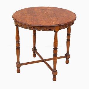 Mid-Century Eichenholz Beistelltisch mit runder Tischplatte