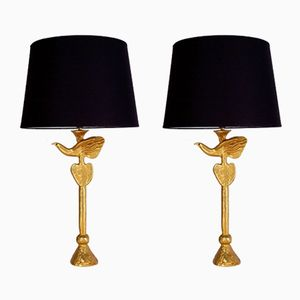 Vintage Gilt Bronze Bird Table Lamps by Pierre Casenove for Fondica, Set of 2