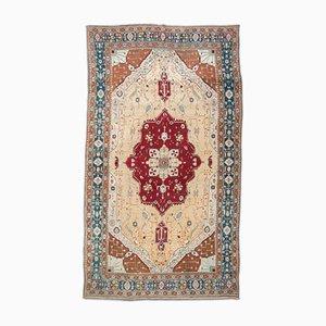 Alfombra Agra de lana beige, turquesa y roja, siglo XIX