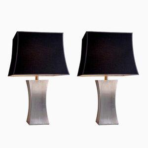 Lampade da tavolo in acciaio inossidabile con paralumi di seta di Francoise See, Francia, anni '70