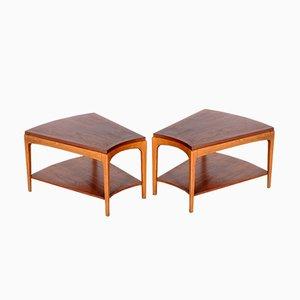 Tables d'Appoint Asymétriques en Noyer de Lane, 1960s, Set de 2
