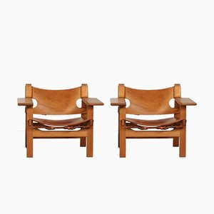 Danish Model 2226 Leather and Oak Spanish Chairs by Børge Mogensen for Fredericia, 1980s, Set of 2