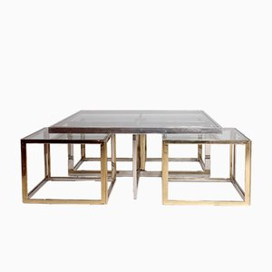 Vintage Chrome & Brass Coffee Table with Nesting Tables by Maison Charles