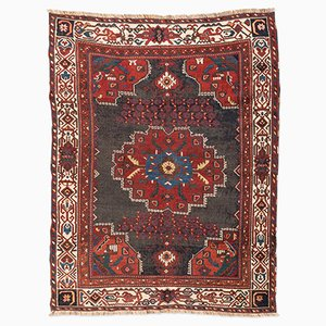 Alfombra Afshar Oriente Medio antigua en rojo y azul