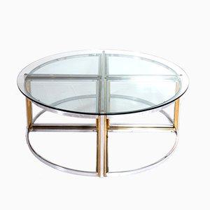 Tavolino da caffè rotondo vintage con tavolini a incastro di Maison Charles