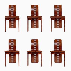 Italian Walnut Dining Chairs, 1980s, Set of 6
