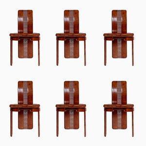 Italienische Nussholz Esszimmerstühle, 1980er, 6er Set