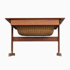 Mid-Century Danish Teak Sewing Table by Kai Kristiansen for Vildbjerg Møbelfabrik, 1960s